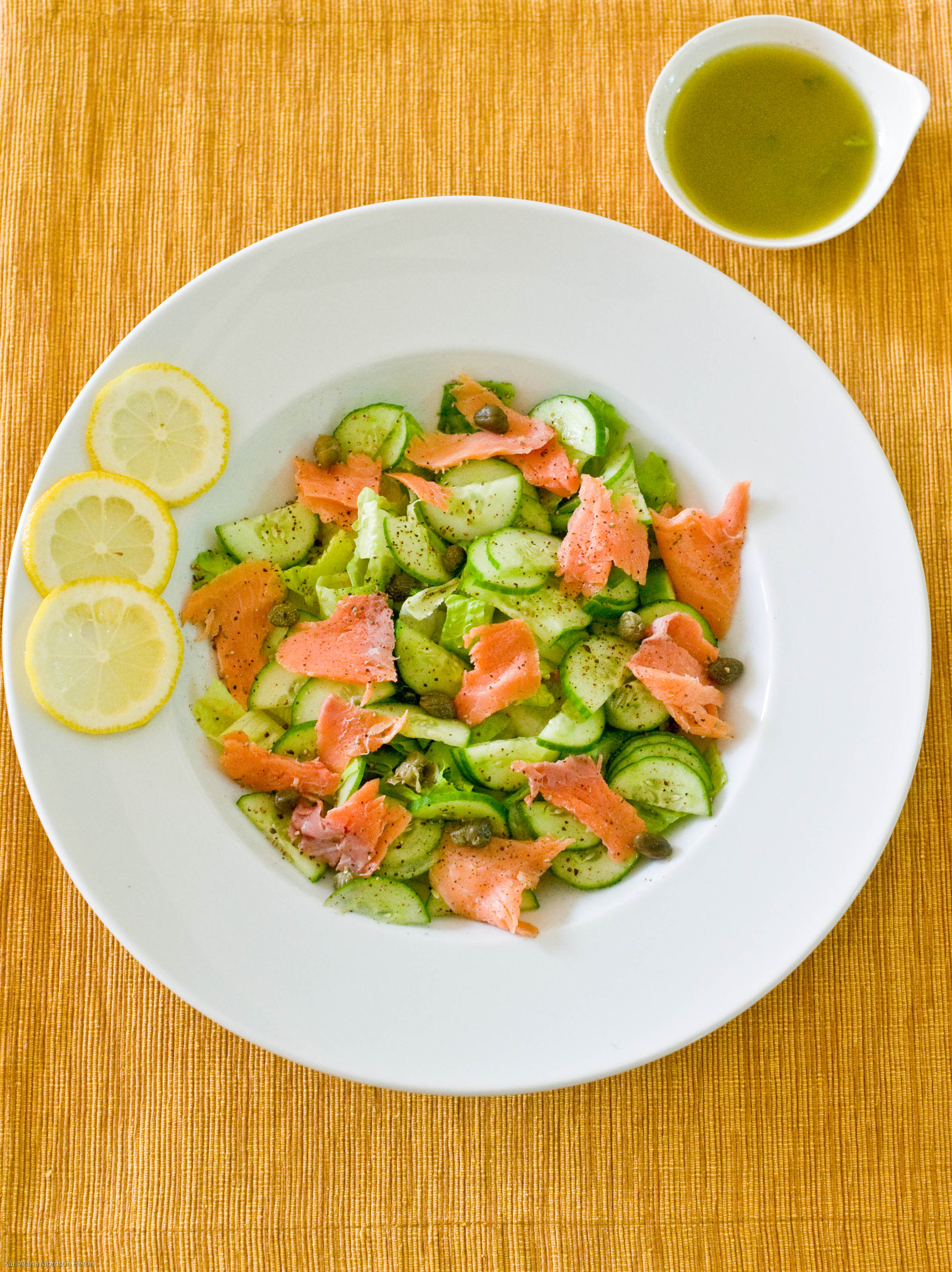 Salad as a Meal- Smoked Salmon, Capers & Cucumbers with a Lemon Dill ...